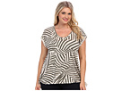 DKNY Jeans Plus Size Patchwork Stripe Knot Hem Top