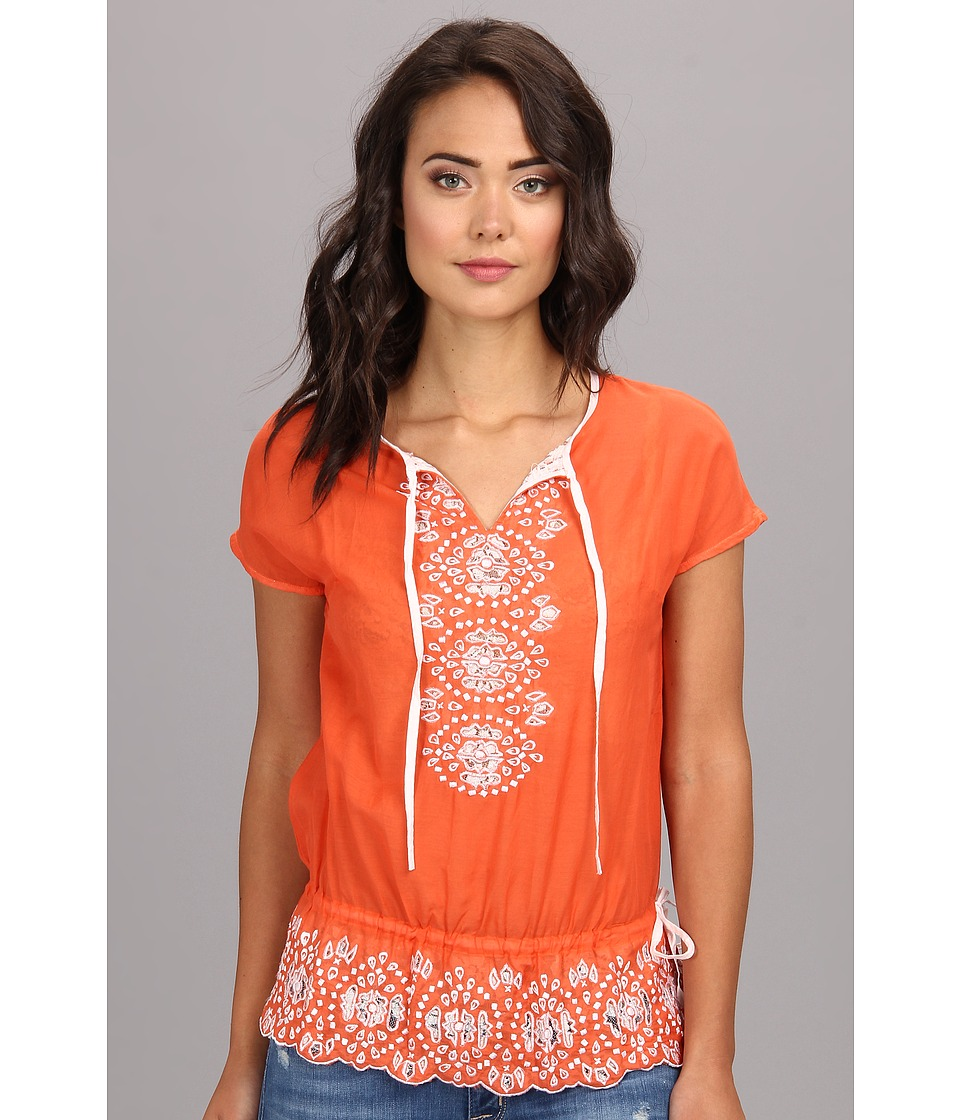KAS New York - Bobbi Cutwork Blouse (Orange) Women's Blouse
