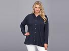 DKNY Jeans Plus Size Drapey Button Down Hoodie