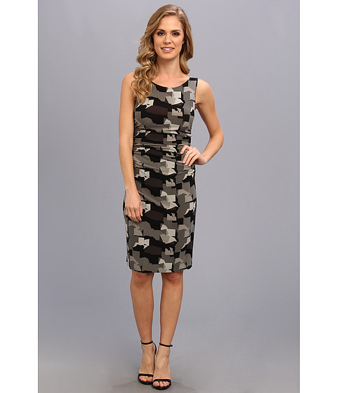 KAMALIKULTURE by Norma Kamali - Sleeveless Shirred Waist Dress (Grey Camo) Women