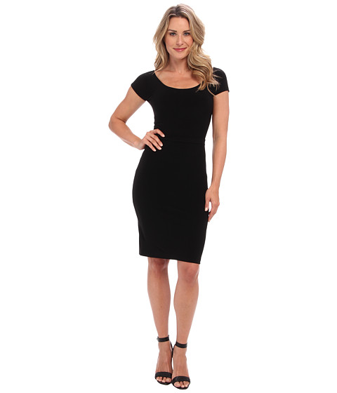 KAMALIKULTURE by Norma Kamali - Scoop Neck Dress w/ Belt (Solid Black) Women's Dress