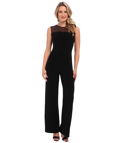 KAMALIKULTURE by Norma Kamali - Sleeveless Jumpsuit w/ Mesh Combo (Solid Black) Women's Jumpsuit & Rompers One Piece