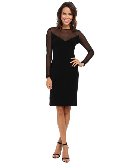 KAMALIKULTURE by Norma Kamali - V Insert Combo Dress (Solid Black) Women's Dress