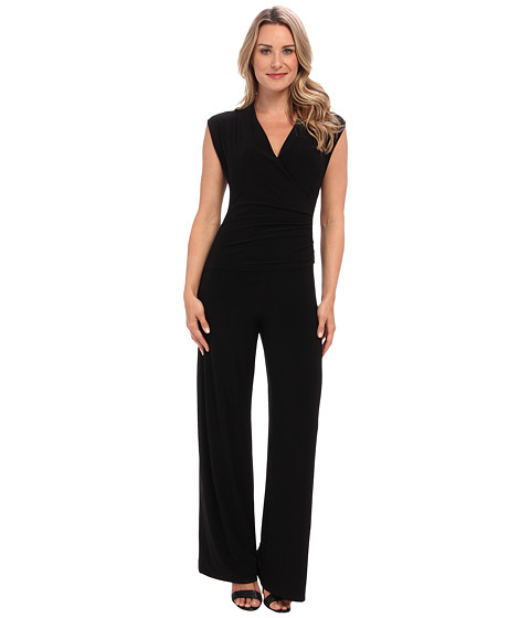 KAMALIKULTURE by Norma Kamali - Sleeveless Side Drape Jumpsuit (Solid Black) Women's Jumpsuit & Rompers One Piece