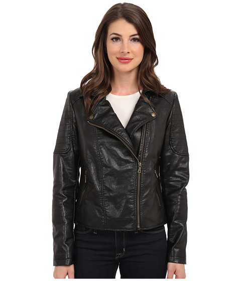 TWO by Vince Camuto - Pleather Moto Jacket w/ Quilted Shoulder (Rich Black) Women's Coat