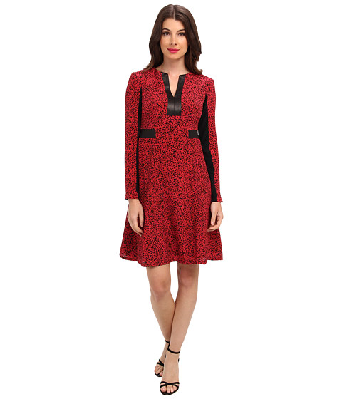 Nanette Lepore - Dewey-Decimal Dress (Black/Scarlet) Women's Dress