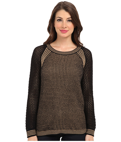 TWO by Vince Camuto - Beehive Rib Stitch Sweater (Rich Black) Women