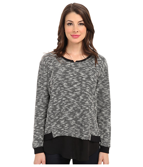 TWO by Vince Camuto - L/S Sweater Like Knit w/ Chiffon Piecing (Rich Black) Women