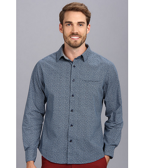Sovereign Code - Fringe L/S Shirt (Navy) Men's Long Sleeve Button Up