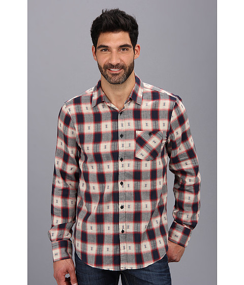 Sovereign Code - Large Plaid L/S Woven (Red) Men's Long Sleeve Button Up