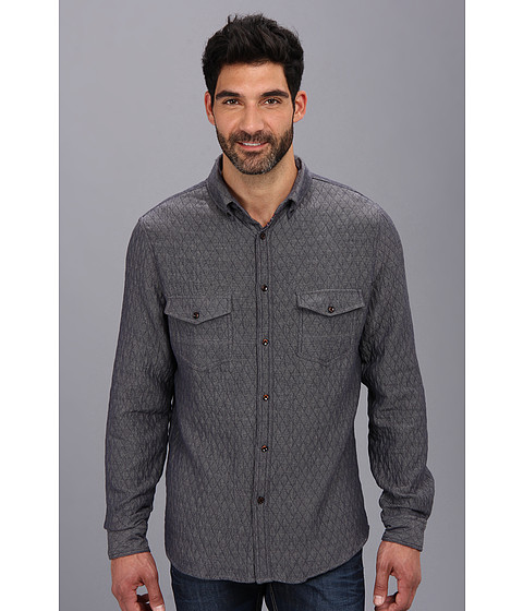 Sovereign Code - Badger Quilted L/S Woven (Blue) Men's Long Sleeve Button Up