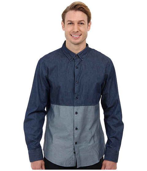 Sovereign Code - Bolt L/S Woven (Navy) Men's Long Sleeve Button Up