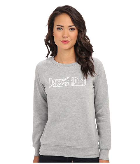 Crooks & Castles - Knit Crew Sweatshirt - Hoods (Heather Grey) Women's Sweatshirt