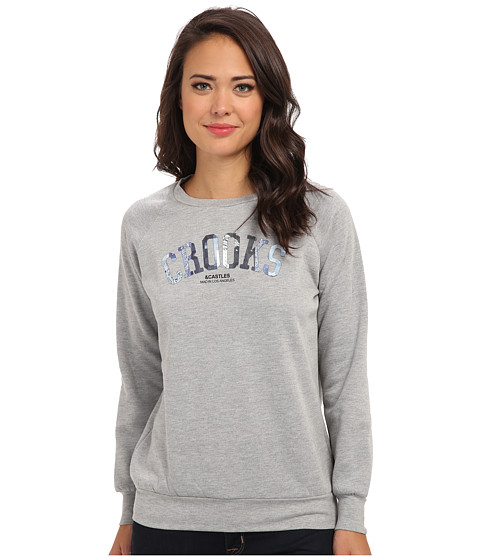 Crooks & Castles - Knit Crew Sweatshirt - Bandana Crooks (Heather Grey) Women