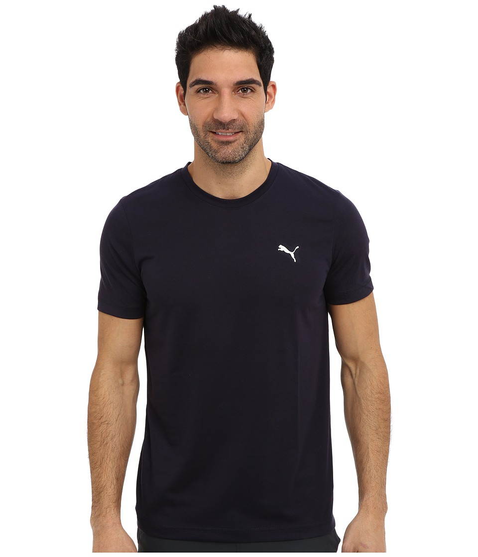 PUMA - Essential Short Sleeve Crew (New Navy/White) Men's Short Sleeve Pullover