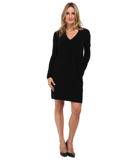 KAMALIKULTURE by Norma Kamali - Narrow Box V-Neck Dress (Solid Black) Women's Dress