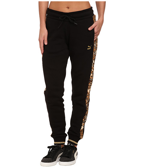 PUMA - Printed Panels Sweat Pants (Black) Women's Casual Pants