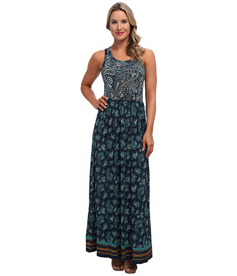 MICHAEL Michael Kors - Sleeve Mix Print Border Maxi (N Navy/Deep Sea Green) Women's Dress