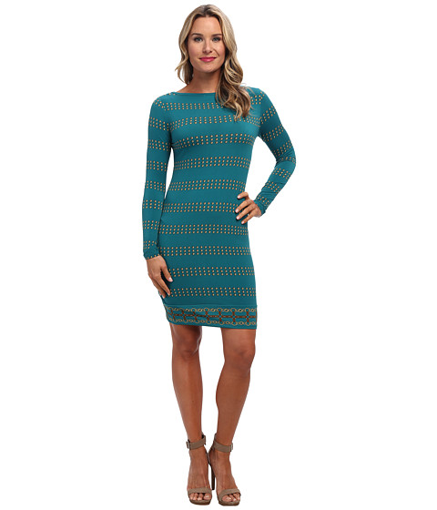 MICHAEL Michael Kors - L/S Boatneck Border Dress (Deep Sea Green) Women