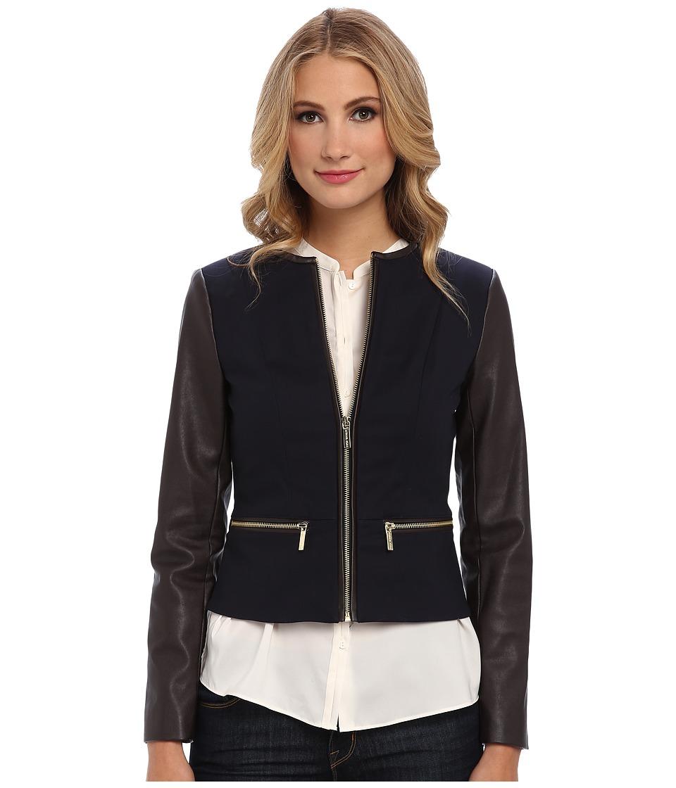 MICHAEL Michael Kors - Faux Leather Zip Front Jacket (New Navy) Women