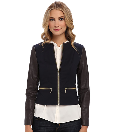 MICHAEL Michael Kors - Faux Leather Zip Front Jacket (New Navy) Women