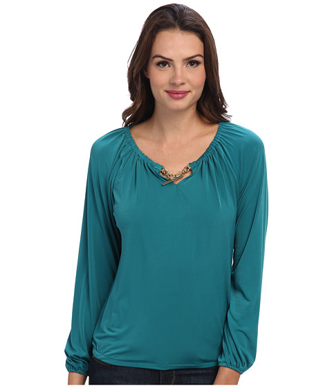MICHAEL Michael Kors - Matte Jersey L/S Blouson Peasant Top (Deep Sea Green) Women's Blouse