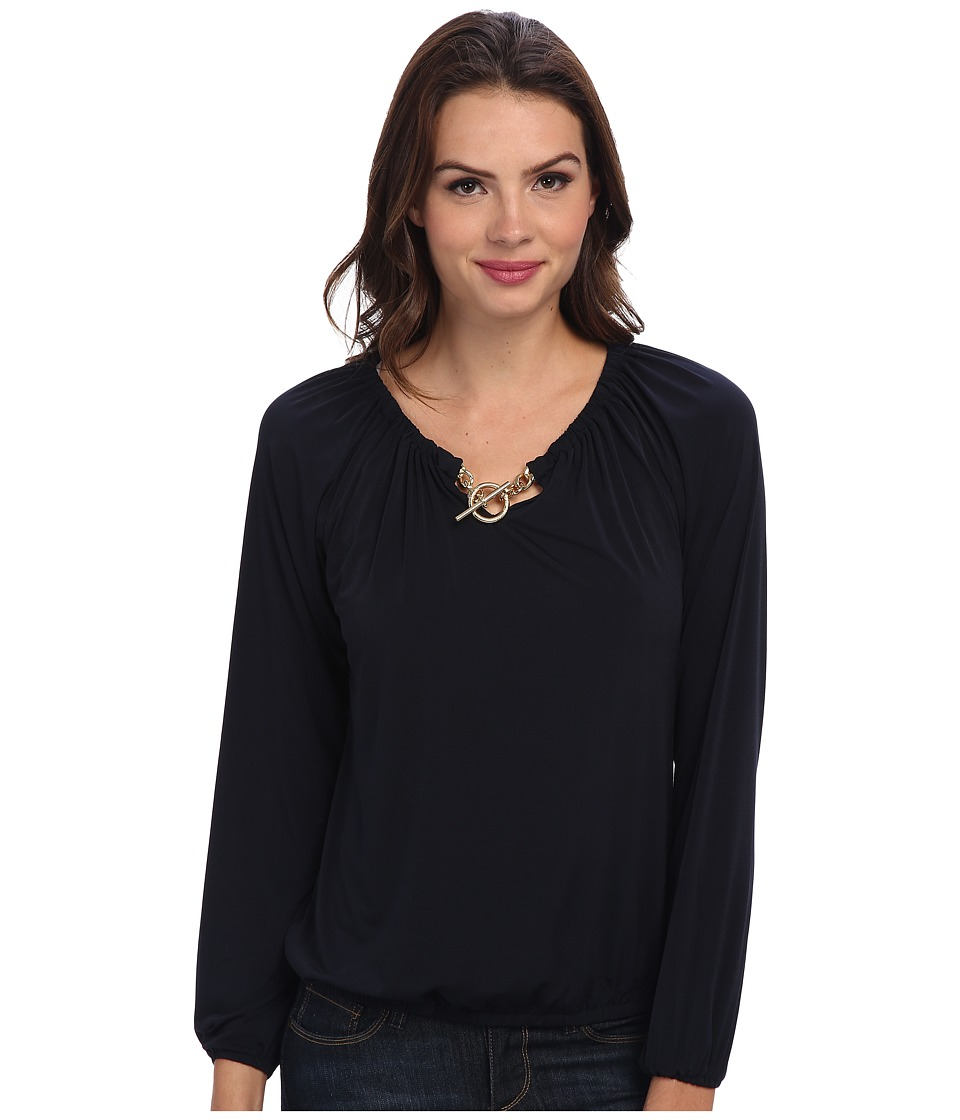 MICHAEL Michael Kors - Matte Jersey L/S Blouson Peasant Top (New Navy) Women's Blouse