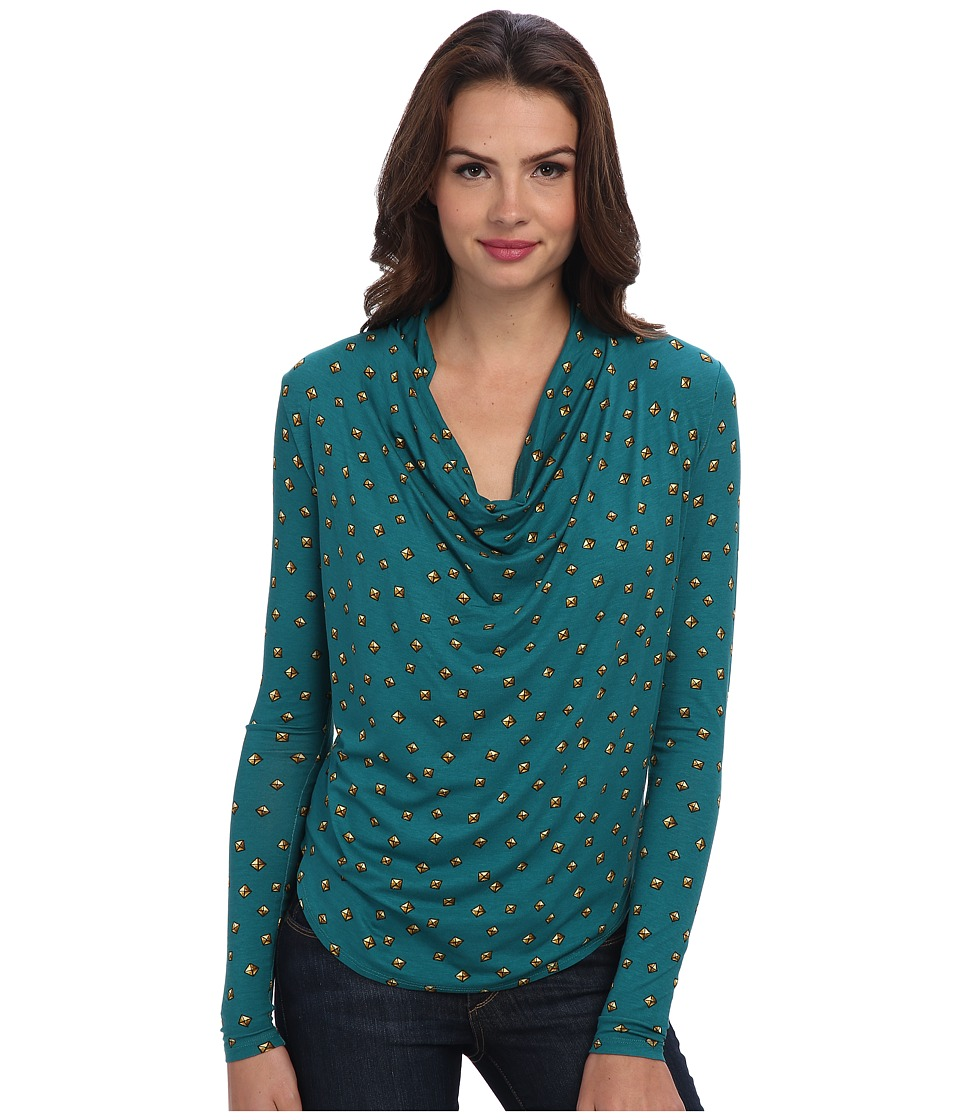 MICHAEL Michael Kors - Draped Neck Dip Hem Top (Deep Sea Green) Women's Blouse