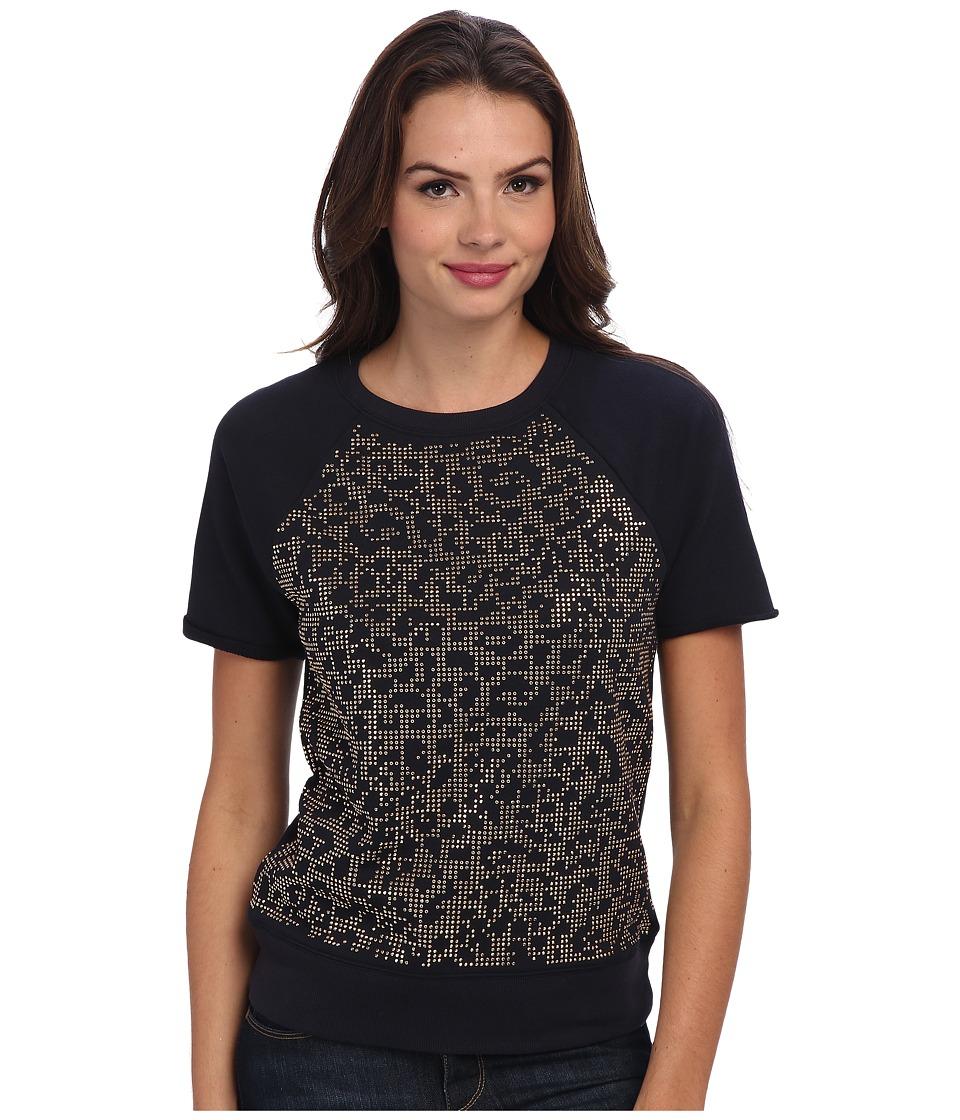 MICHAEL Michael Kors - Leo Stud S/S Raglan Crew (New Navy) Women's T Shirt
