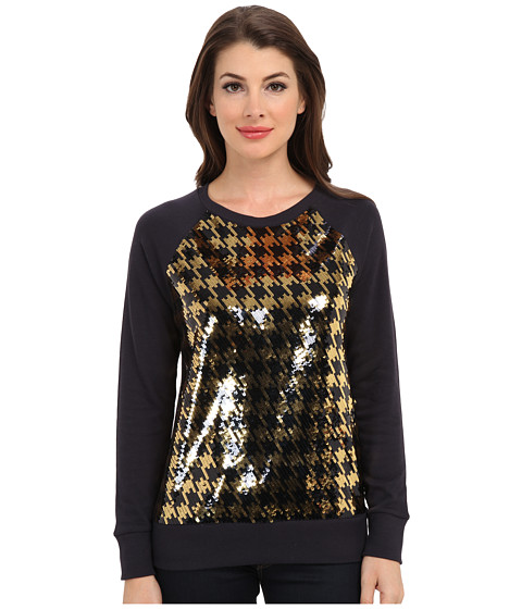 MICHAEL Michael Kors - L/S Raglan Hound Sequin Top (New Navy/Gold) Women