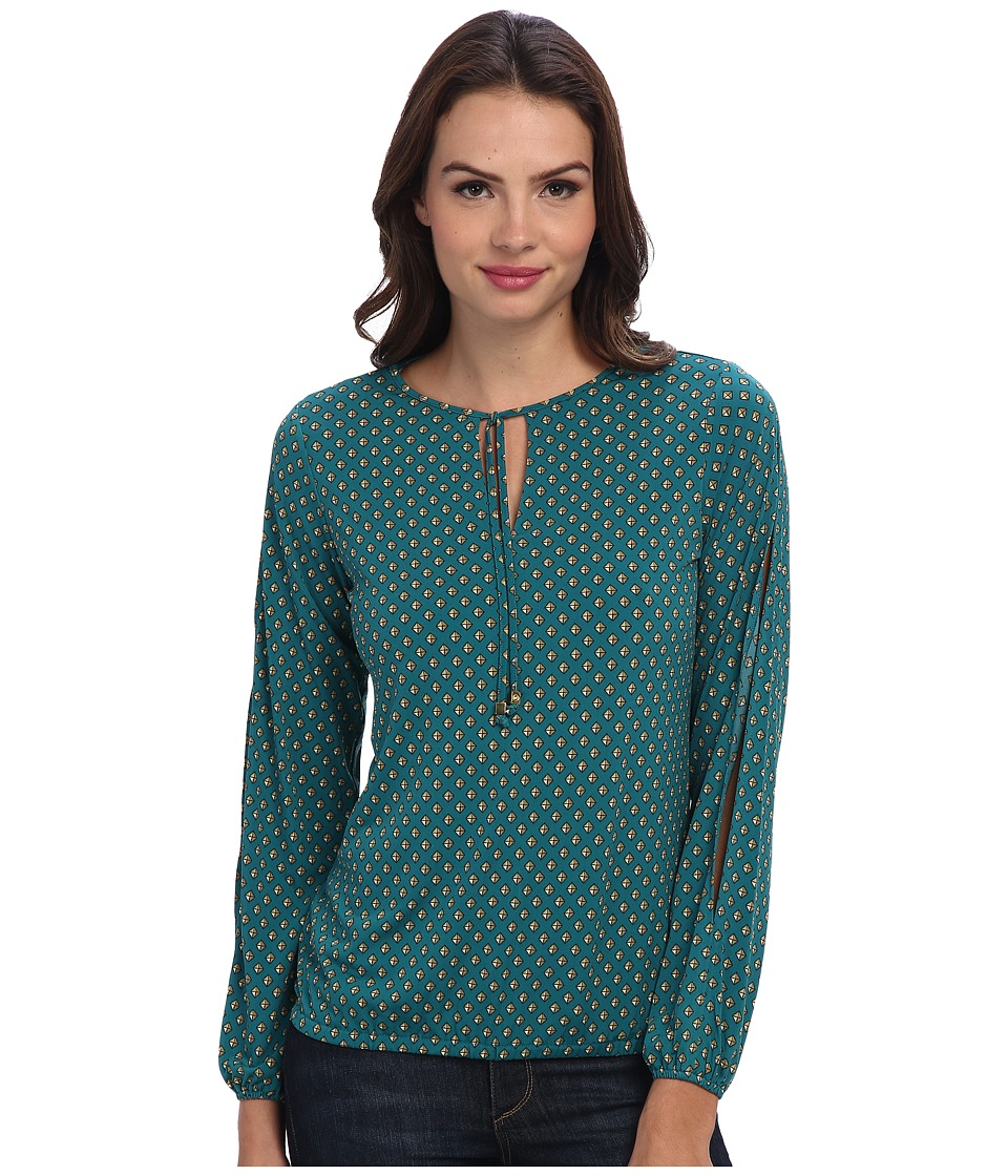 MICHAEL Michael Kors - Wembley Peasant Top (Deep Sea Green) Women's Blouse