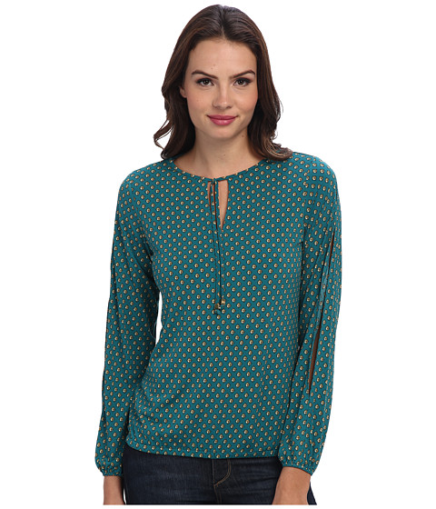MICHAEL Michael Kors - Wembley Peasant Top (Deep Sea Green) Women