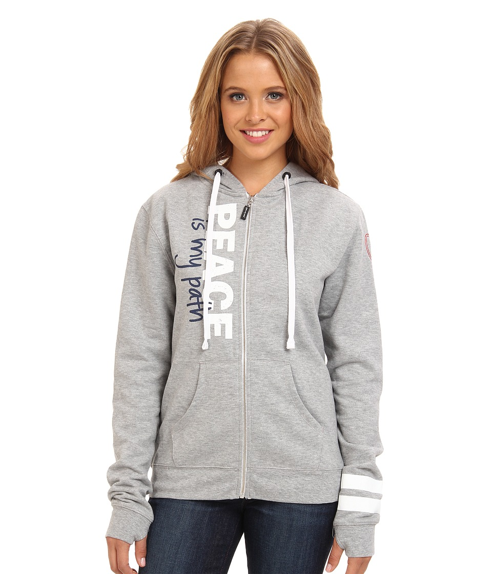 Peace Love World - Zip Up Hoodie (Heather) Women's Sweatshirt