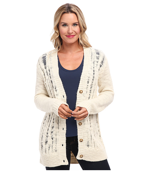 MICHAEL Michael Kors - L/S Dropstitch BF Cardigan (Dark Ecru) Women's Sweater