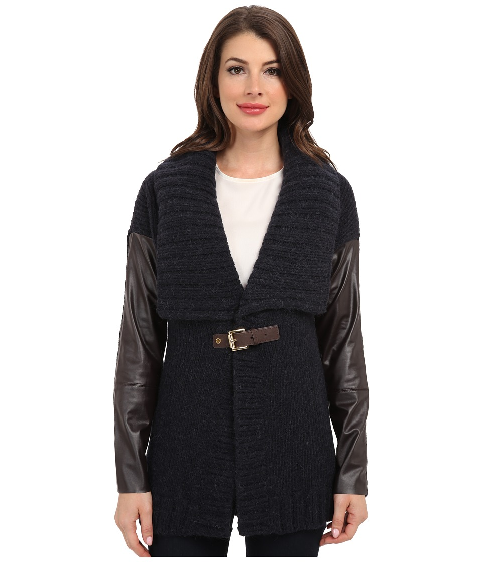 MICHAEL Michael Kors - Leather Sleeve Buckle Cardigan (New Navy) Women's Sweater plus size,  plus size fashion plus size appare