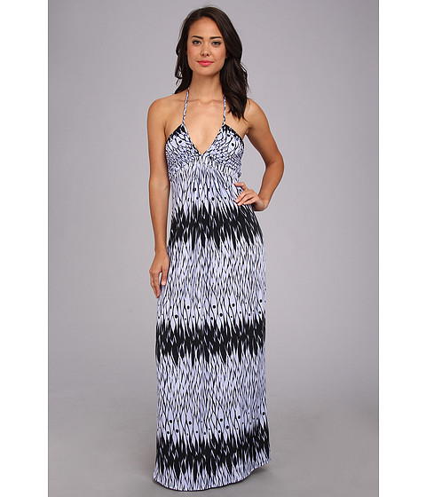 Tbags Los Angeles - Deep-Ve Ruched Halter Maxi w/ Braided Ties (FR4 Print) Women