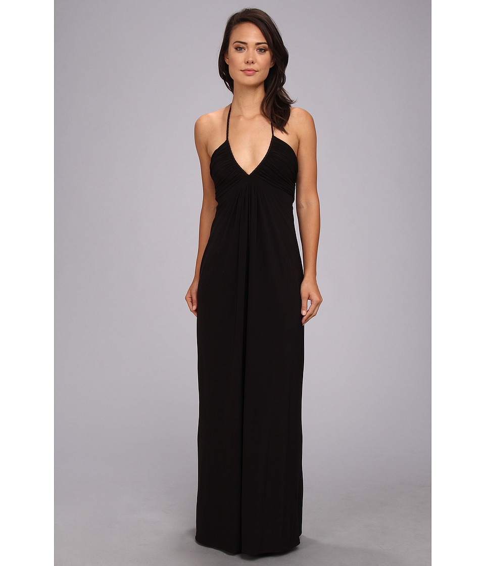 Tbags Los Angeles - Deep-Ve Ruched Halter Maxi w/ Braided Ties (Black) Women's Dress