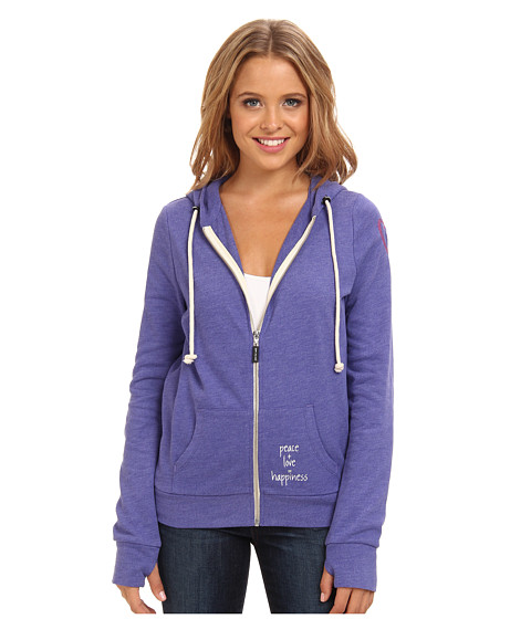 Peace Love World - Zip Up Hoodie (Blue Violet) Women's Sweatshirt