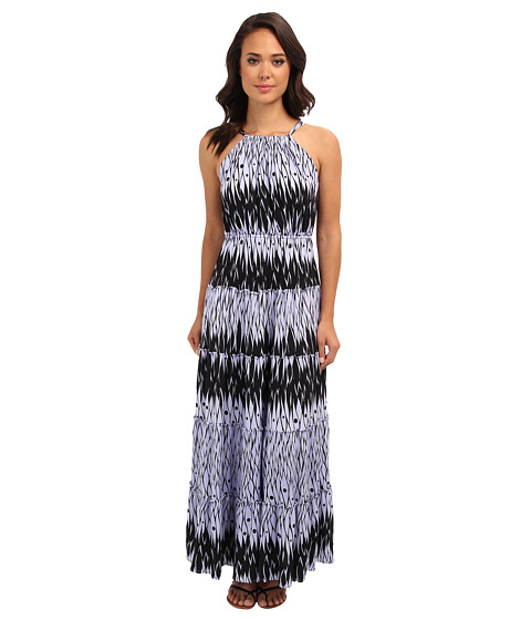 Tbags Los Angeles - Hi-Neck Halter Tiered Maxi (FR4 Print) Women's Clothing