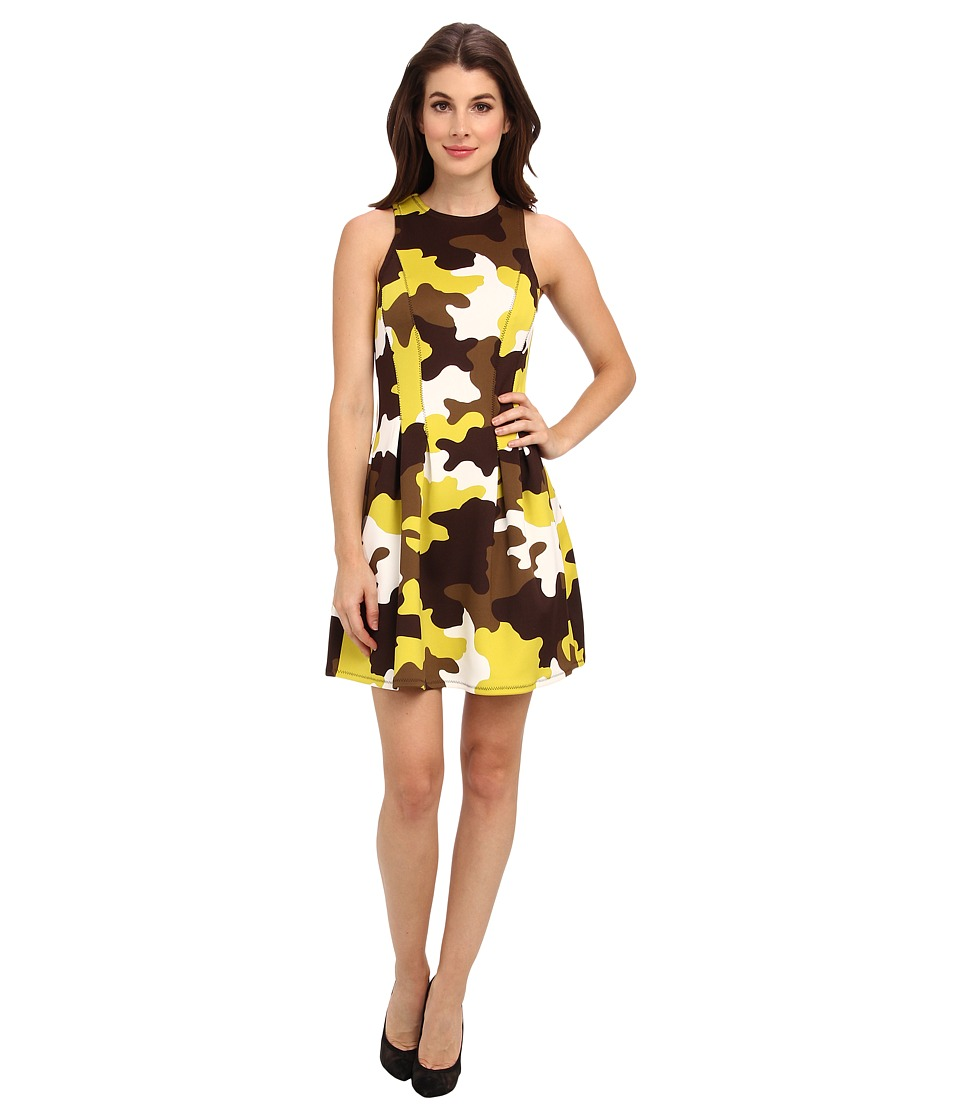MICHAEL Michael Kors - Camo Print S/L Flare Dress (Acid Lemon/White) Women