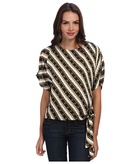 MICHAEL Michael Kors - Imperial Chain Tie Top (New Navy/Cream) Women's Blouse