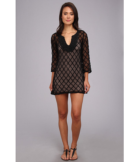 Tbags Los Angeles - Crochet Tunic Dress with Tonal Bib (Black Crochet) Women's Dress