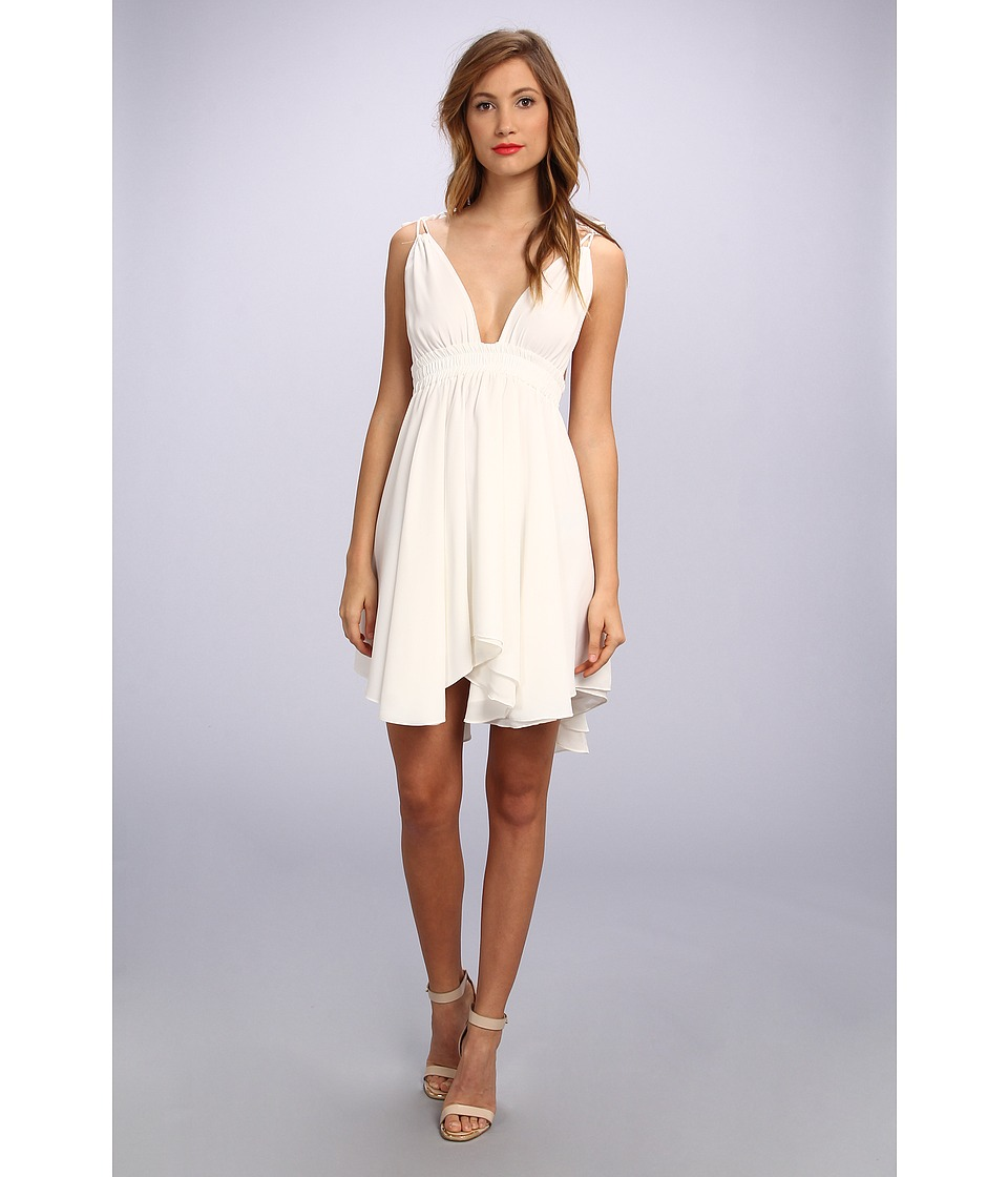 Tbags Los Angeles - Chiffon Spag Strap Triangle Hi-Lo Dress (Off White) Women