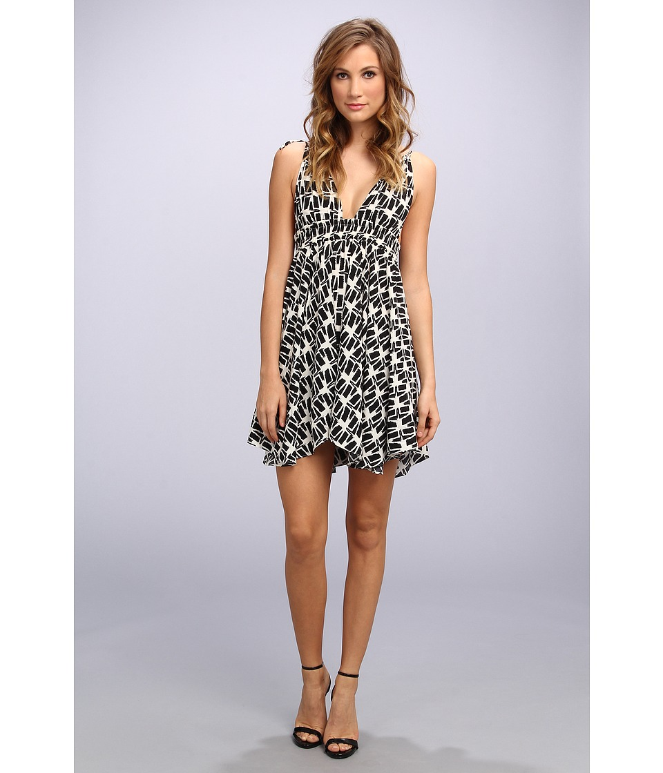 Tbags Los Angeles - Woven Spag Strap Triangle Hi-Lo Dress (FR1 Print) Women's Dress