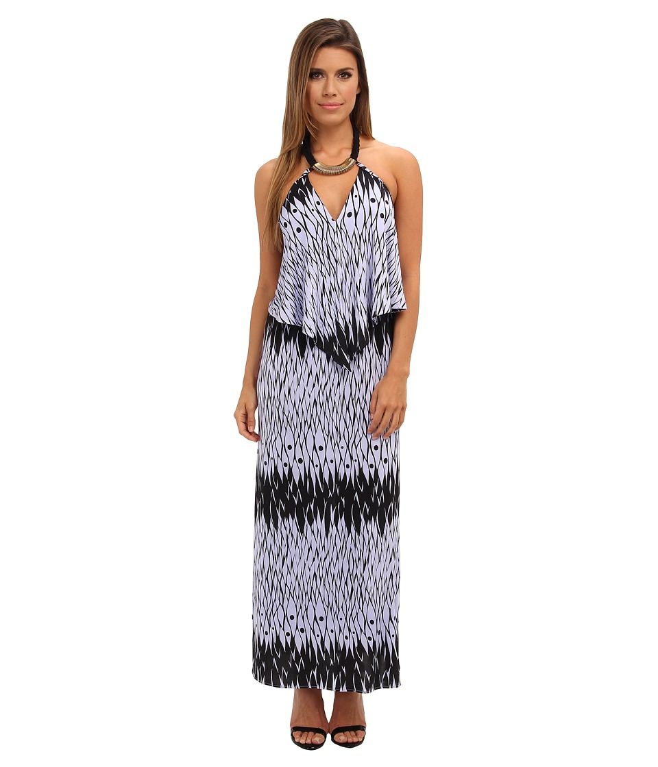 Tbags Los Angeles - Convertible Maxi Dress w/ Black/Gold Neck Piece (FR4 Print) Women's Dress