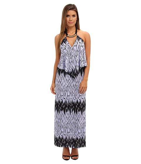 Tbags Los Angeles - Convertible Maxi Dress w/ Black/Gold Neck Piece (FR4 Print) Women