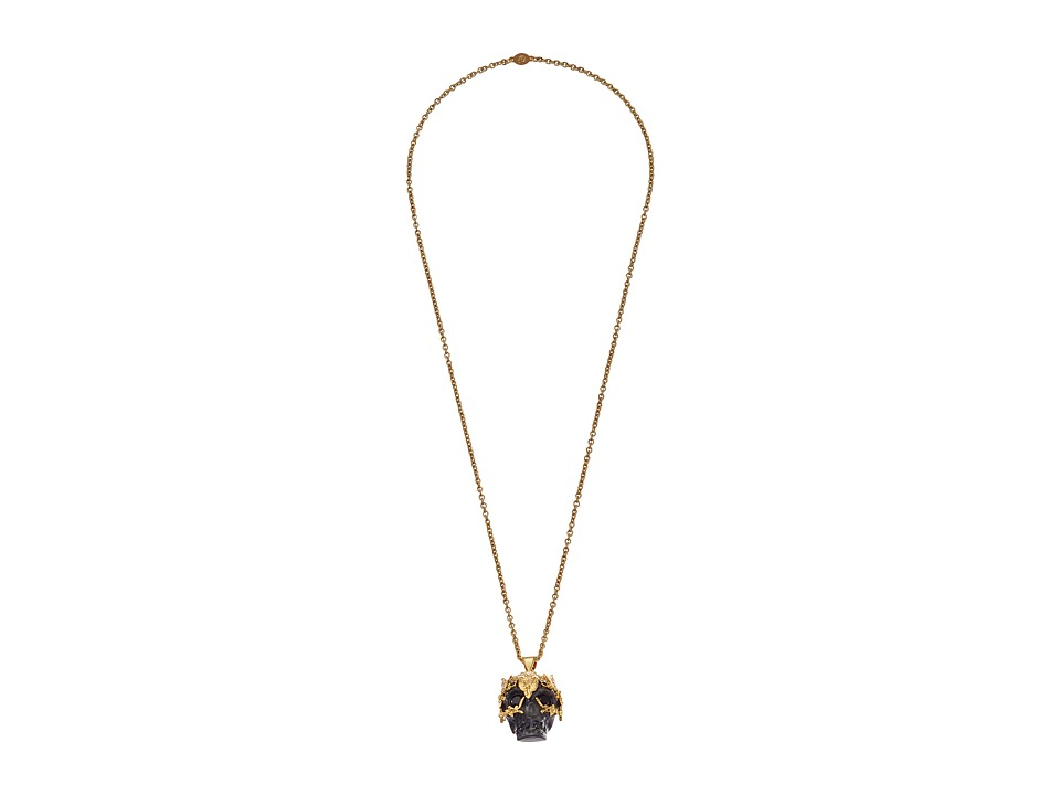 Alexander McQueen - Owl Skull Pendant (Gold/Black) Necklace