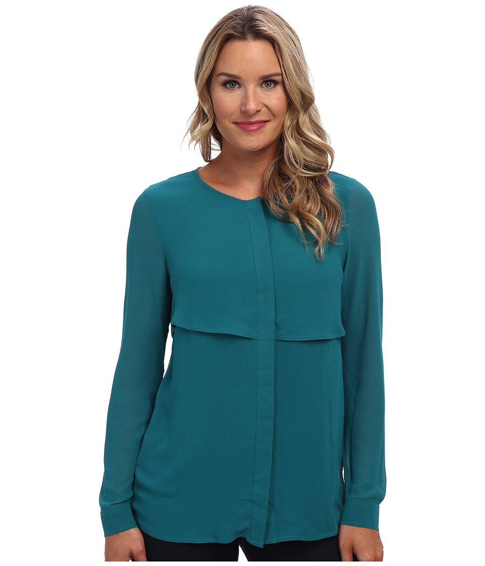 MICHAEL Michael Kors - DBL Layer Detail Top (Deep Sea Green) Women's Blouse