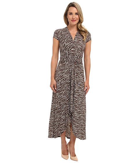 MICHAEL Michael Kors - Savannah Zebra Wrap Dress (White) Women's Dress