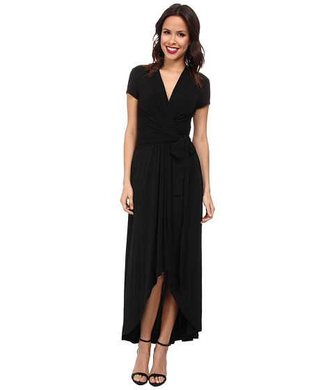 MICHAEL Michael Kors - Capsleeve Maxi Wrap Dress (Black) Women's Dress